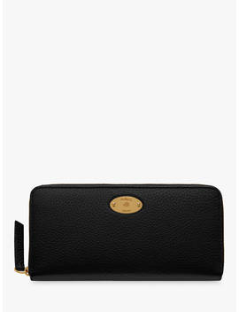 Mulberry Plaque Small Classic Grain Leather 8 Card Zip Around Wallet, Black by Mulberry