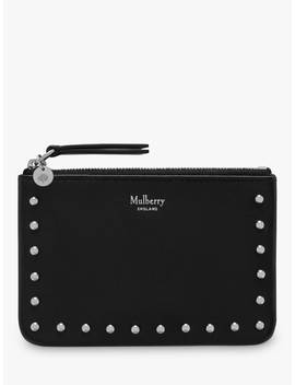 Mulberry Riveted Leather Zip Coin Pouch, Black by Mulberry