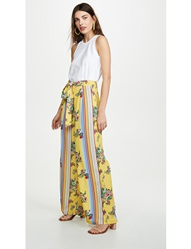 Yellow Floral Stripe Trousers by Glamorous
