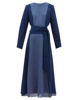 Panelled Belted Voile Midi Dress by Cefinn
