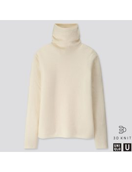 Women U 3 D Premium Lambswool Turtleneck Sweater by Uniqlo