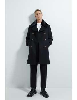 Coat With Faux Fur Trim Outerwearman by Zara