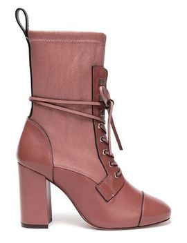 Lace Up Paneled Leather Boots by Stuart Weitzman