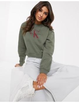 Calvin Klein Jeans – Kakifärgad, Kort Sweatshirt Med Logga by Calvin Klein Jeans