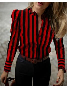 Colorblock Striped Frill Cuff Buttoned Shirt by Chic Me