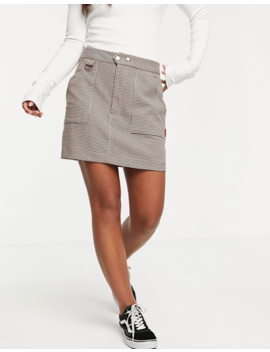 Pull&Bear Check Printed Mini Skirt In Brown by Pull&Bear