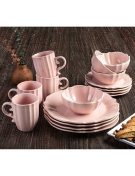 Rihanna Pink 16 Pc Dinner Set by American Atelier