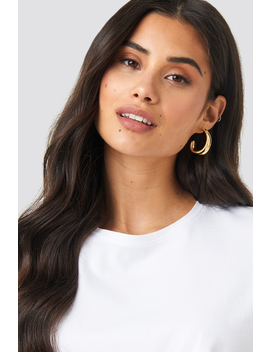 Structured Edge Oval Hoops Guld by Na Kd Accessories