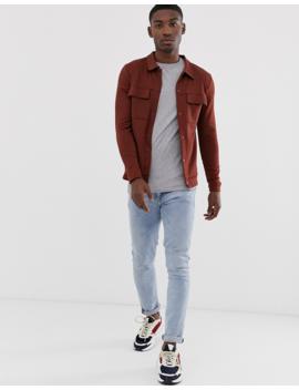Jack &Amp; Jones Premium Patch Pocket Sweat Jacket In Red by Jack & Jones