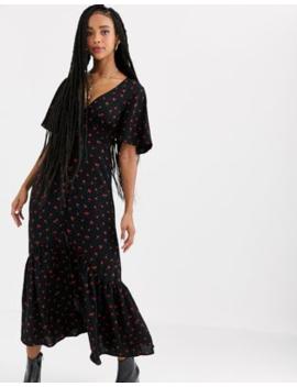 Pull&Amp;Bear Cherry Print Midi Dress In Black by Pull&Bear