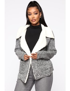 Out In The City Sweater Jacket   Charcoal by Fashion Nova