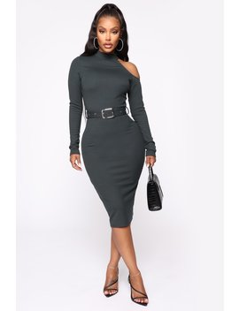 In The Office Midi Dress   Hunter Green by Fashion Nova