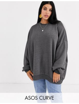 Asos Design Curve Oversized Super Soft Sweat In Charcoal by Asos Design