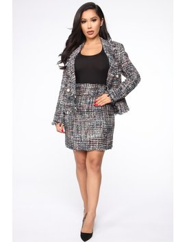 Miranda Boucle Mini Skirt   Black Multi by Fashion Nova
