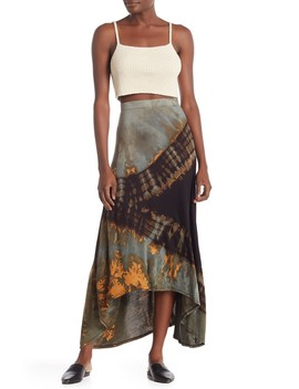 Tie Dye High/Low Maxi Skirt by Go Couture