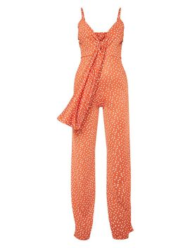Burnt Orange Polka Dot Tie Front Strappy Jumpsuit by Prettylittlething