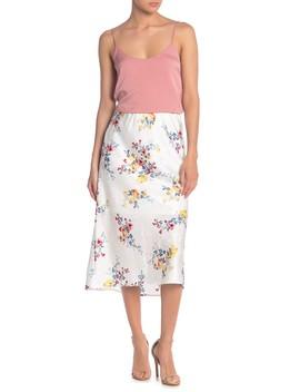 Floral Midi Slip Skirt by Material Girl