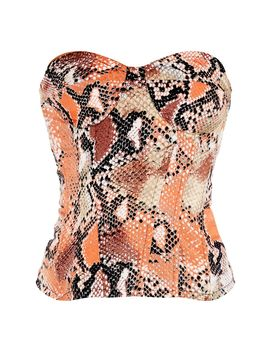 Orange Woven Snake Print Corset  by Prettylittlething