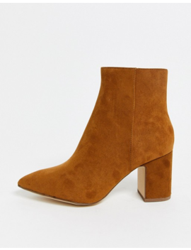 New Look Block Heeled Boot In Tan by New Look
