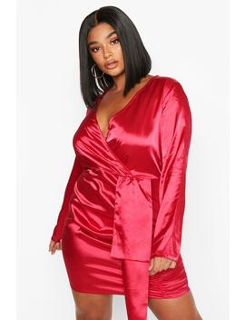 Plus Satin Plunge Ruched Wrap Dress by Boohoo