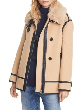 Wool Blend Moto Coat With Faux Fur Trim by Club Monaco