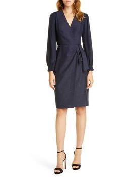 Crosshatch Pattern Long Sleeve Faux Wrap Dress by Tailored By Rebecca Taylor