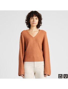 Women U Wool Crepe Wide Sleeve Sweater by Uniqlo