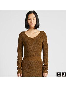 Women U Melange Round Neck Sweater by Uniqlo