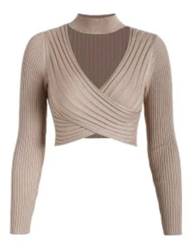 Hot Sale Cross Front Choker Cropped Pullover Sweater   Tan S by Zaful