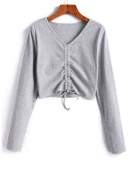 Hot Sale Cinched V Neck Crop Knitwear   Gray S by Zaful