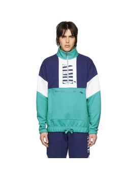 Blue Colorblocked Quarter Zip Pullover by AimÉ Leon Dore