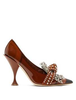 Evan Crystal Embellished Vinyl Coated Pumps by Burberry