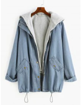 Popular Sale Two Pieces Zip Up Casual Denim Jacket   Denim Blue L by Zaful