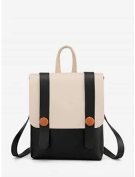 Contrast Strap Accent Flap Pu Backpack   Black by Zaful