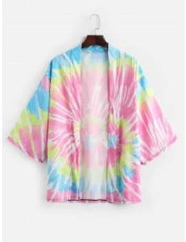 New Tie Dye Print Open Front Kimono Cardigan   Hot Pink S by Zaful