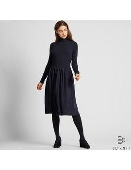 Robe Courte CÔtelÉe Maille 3 D MÉrinos Extra Fin Sans Coutures Col RoulÉ Manches Longues Femme by Uniqlo