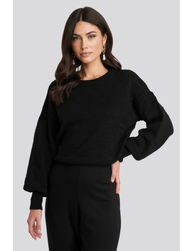 Bubble Stitch Balloon Sleeve Knitted Sweater Black by Na Kd