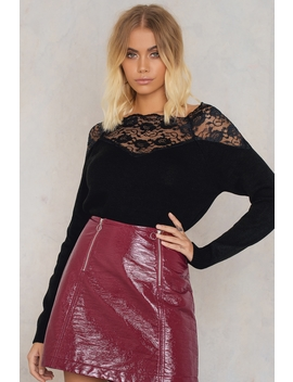 Off Shoulder Lace Sweater Black by Trendyol
