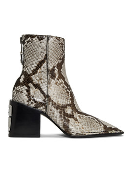 Black & White Snake Parker Boots by Alexander Wang