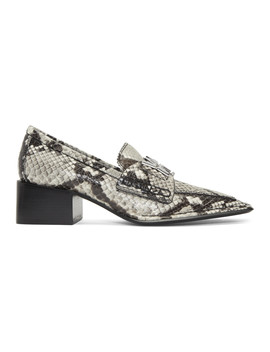 Black & White Snake Print Parker Low Loafers by Alexander Wang