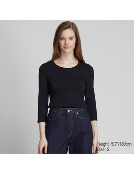 Women Ribbed Cotton Crew Neck 3/4 Sleeved T Shirt by Uniqlo
