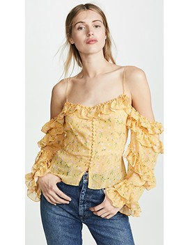Cold Shoulder Ruffle Sleeve Button Up Blouse by Divine Heritage