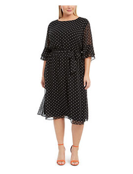Plus Size Printed Bell Sleeve A Line Dress by General