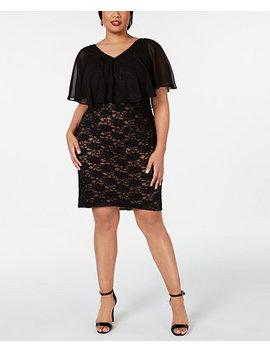 Plus Size Chiffon Overlay Lace Sheath Dress by General