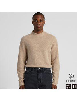 Men U 3 D Premium Lambswool Mock Neck Sweater by Uniqlo