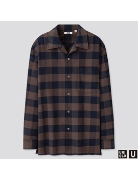 Men U Open Collar Flannel Checked Long Sleeve Shirt by Uniqlo
