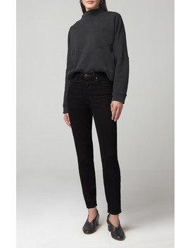 Olivia High Rise Slim In Sueded Black by Citizens Of Humanity