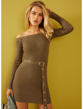 Claudine Belted Off The Shoulder Sweater Dress by G By Guess