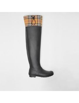 Vintage Check And Rubber Knee High Rain Boots by Burberry