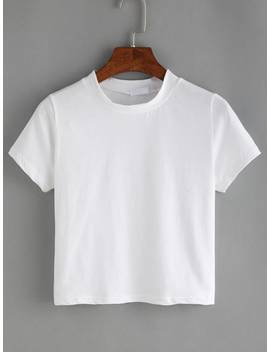 White Crew Neck T Shirt by Romwe